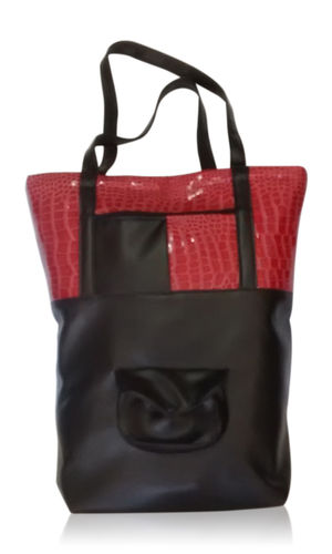 Bolso polipiel - Shopping color negro y piel reptil rojo